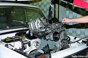 снятие двигателя подъёмником
