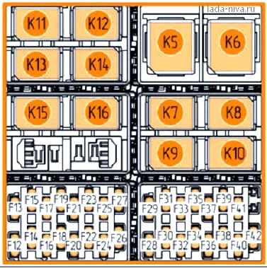 схема монтахного блока в салоне