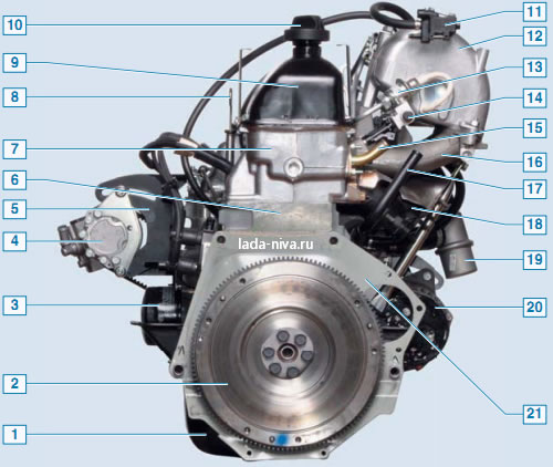двигатель - вид сзади