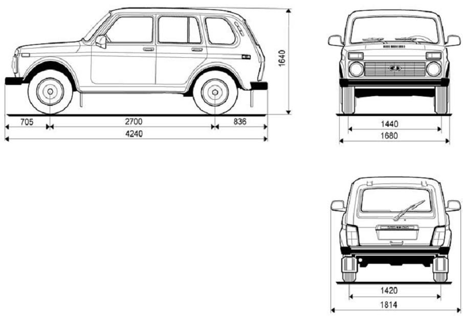 Технические характеристики Нива ВАЗ 21213, 21214, 2131 lada 4x4